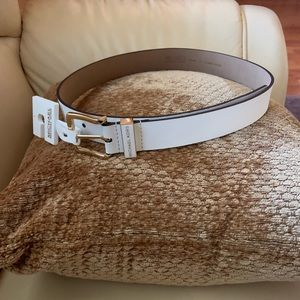 NWT Michael Kors White Leather Belt Size Small